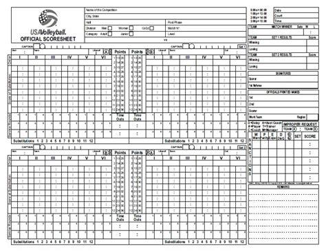 printable usa volleyball score sheets printable volleyball score sheet template quotes