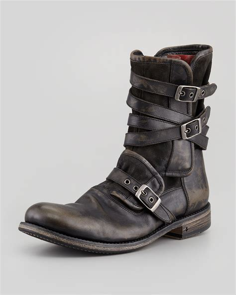 mens boots with varvatos bleeker side zip boot in gray for lyst
