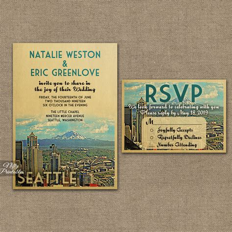 Wedding Invitations Seattle by Seattle Skyline Wedding Invitations Vtw Nifty Printables