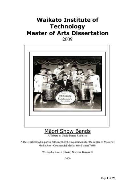 master thesis dissertation maori showbands masters thesis dissertation 2009
