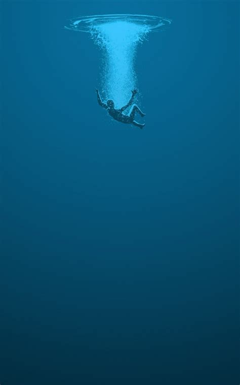 man drowning blue water lockscreen android wallpaper