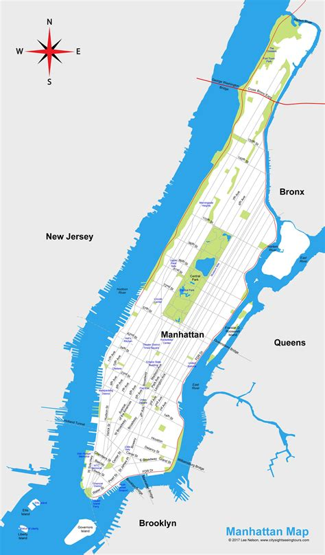 map to new york city map of manhattan new york city map city sightseeing tours