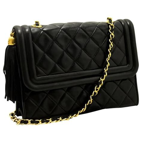 Black Quilted Chain Shoulder Bag by Chanel Vintage Tassel Chain Shoulder Bag Black Quilted