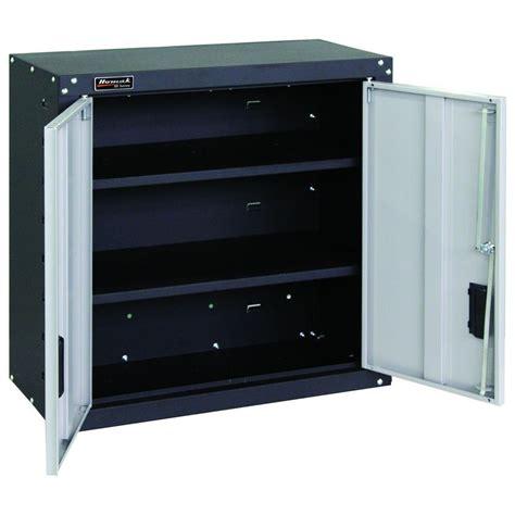 2 Door Cabinet With Shelves Homak Garage Series 27 In 2 Door Wall Cabinet With 2 Shelves In Black And Gray Gs00727021 The