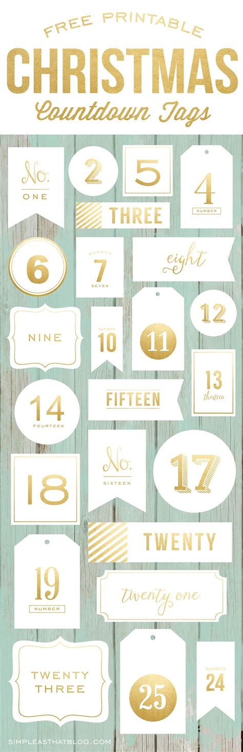 free printable december calendar numbers advent calendar christmas countdown tags advent