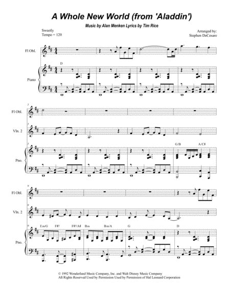 Download A Whole New World (Violin Duet) Sheet Music By