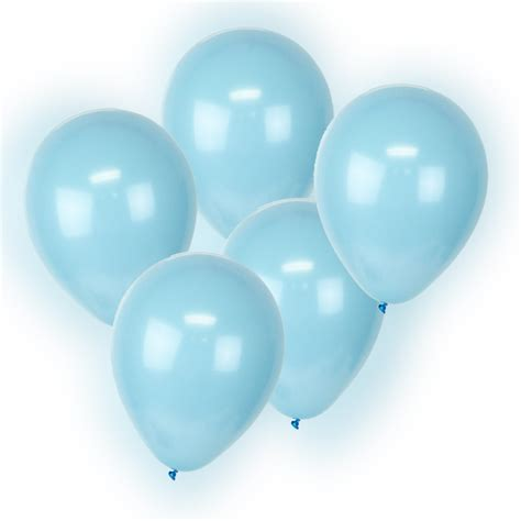 5 blue led glowing light up balloons