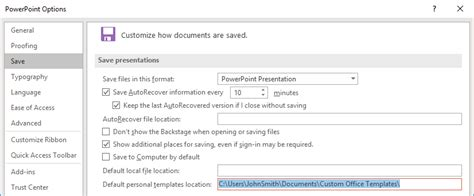 Set The Default Template When Powerpoint Starts Youpresent Custom Office Templates Folder 2016