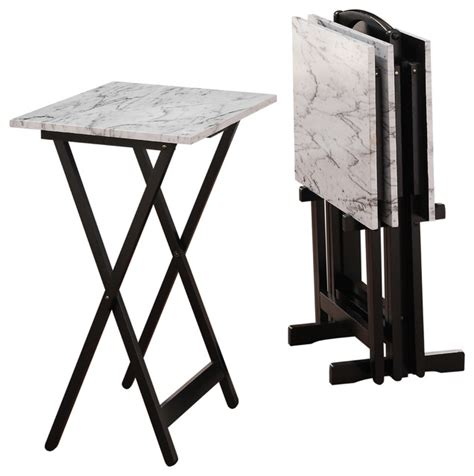 Linon Home Decor Tray Table Set Faux Marble Brown White Faux Marble Tray Set Transitional Tv Trays By