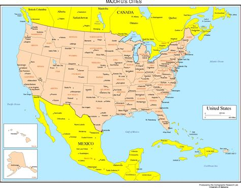 us map with cities united states colored map