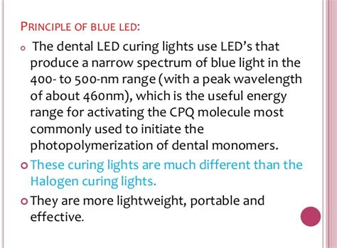 dental curing light wavelength light cure ppt