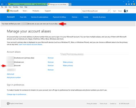email microsoft account microsoft account aliases add or remove windows 10 forums