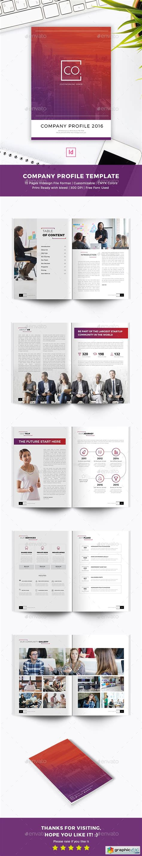 cowork company profile indesign template 187 free download