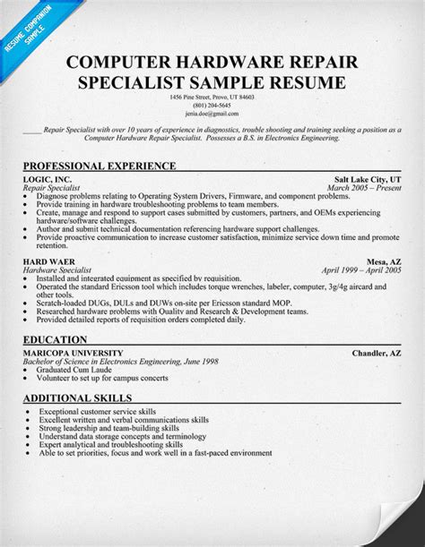 computer technician resume template computer systems technician resume