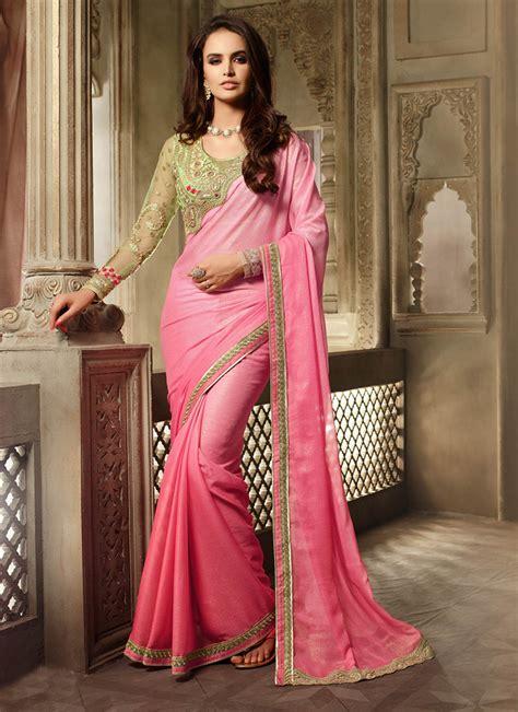 Lika Blouse breathtaking pink shimmer chiffon saree