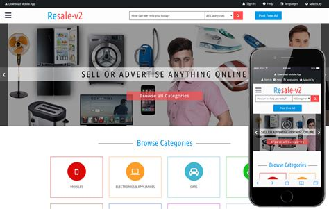 Resale V2 A Classified Ads Category Bootstrap Responsive Web Template Classified Website Template