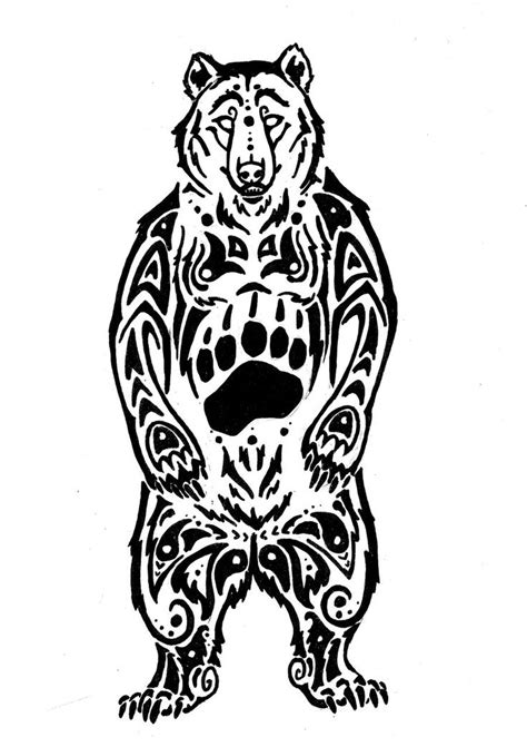 tribal bear paw drawings clipart best