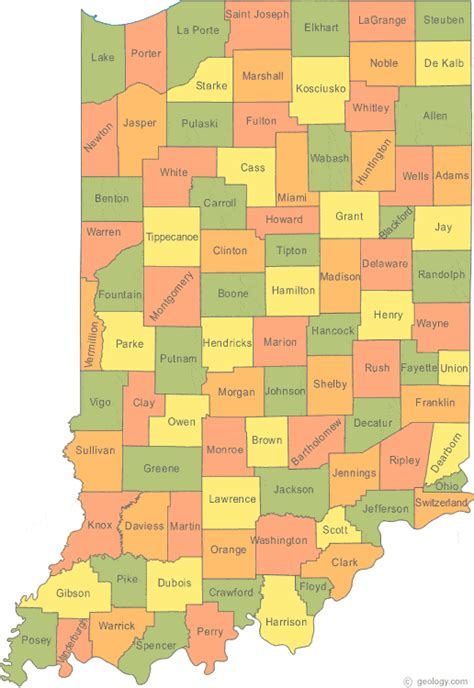 map of indiana counties map of indiana 187 travel
