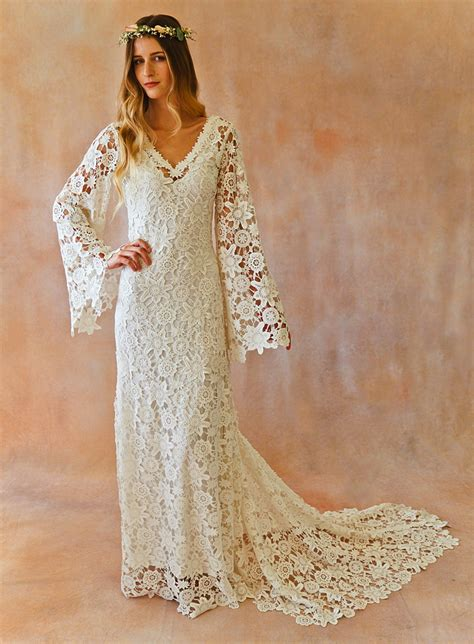 Style Lace by Boho Crochet Style Lace Gown With Bell Sleeves Dreamers