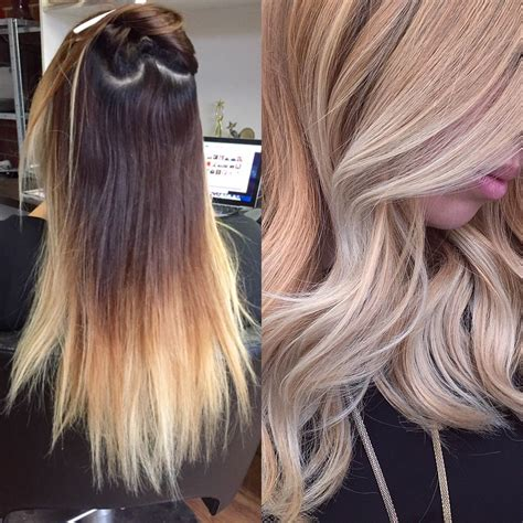 is highlighted hair dated before after stunning golden lob with ecaille
