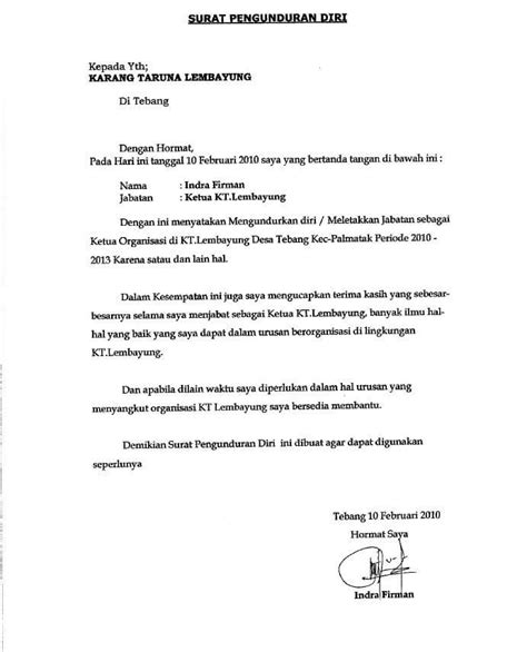 contoh surat pengunduran diri format doc contoh surat pengunduran diri kerja yang baik dan sopan