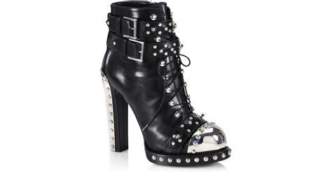 mcqueenleather lace ups lyst mcqueen studded leather lace up buckle