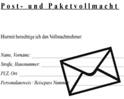 Vollmacht Schreiben Muster Post Vollmacht Paketabholung Tracking Support