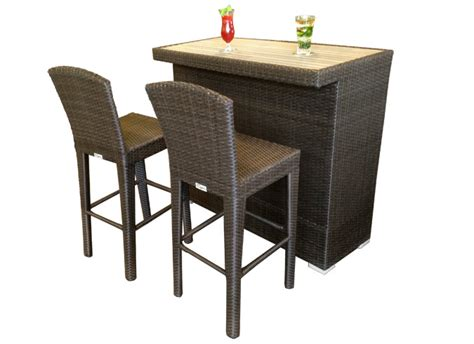 barmeubel wicker martini patio bar table with realistic synthetic teak top