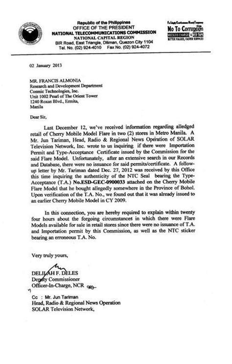 Letter Of Intent Efps Sle ntc ask cherry mobile to explain sale of flare units sans permit paperblog