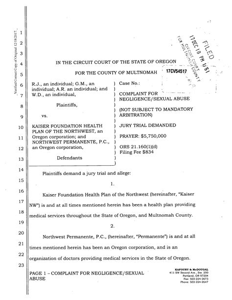Multnomah County Circuit Court Search Sue Kaiser Permanente Say Commented On Big