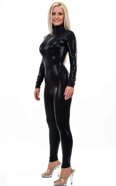 catsuits for women back zipper catsuit bodysuit in mystique black on black by