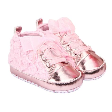 pink baby shoes toddler soft sole with flowers