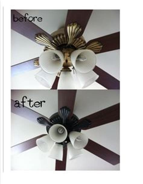 Can You Paint A Ceiling Fan by Got Rid Of Gold 70 S Ceiling Fan 8 Can Of Rustoleum