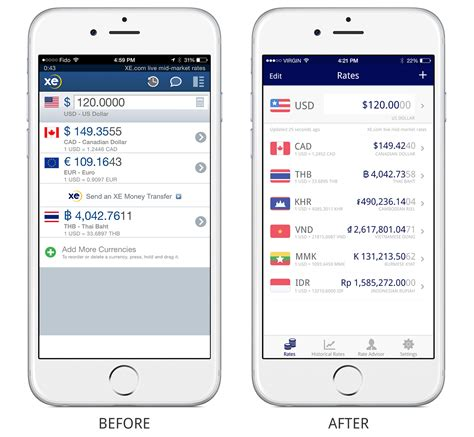 app design rates xe currency app mobile re designer