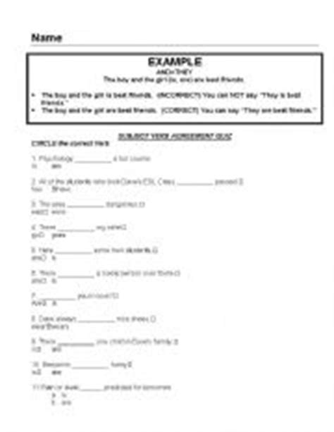 printable quiz on subject verb agreement english worksheets subject verb agreement quiz