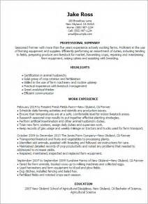 Agricultural Consultant Sle Resume by Professional Farmer Templates To Showcase Your Talent Myperfectresume