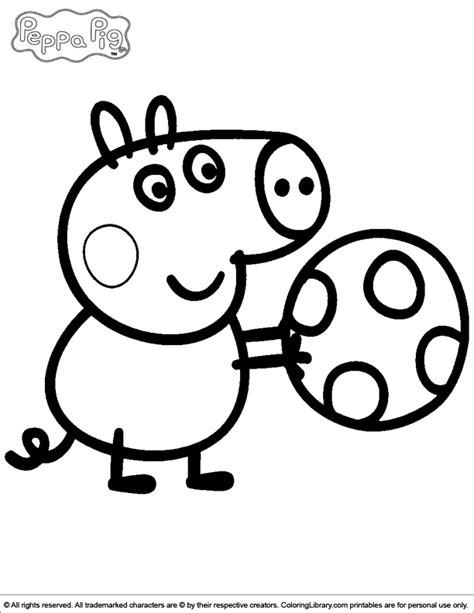 colouring pictures of peppa pig and george george playing with a ball peppa pig coloring page