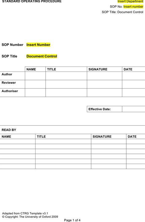 procedure template exle sop template free premium templates forms