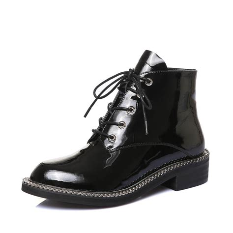 popular black patent leather ankle boots buy cheap black