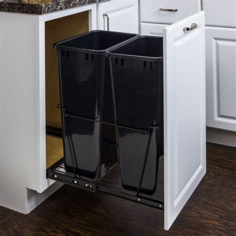 cabinet trash can kit double 50 quart trash can pullout all cabinet parts