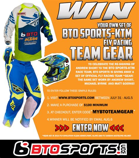 Cing Gear Sweepstakes - bto sports ktm re signs andrew short to two year deal
