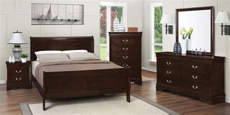 louis philip cherry 4pc sleigh bedroom set queen nader s furniture louis philippe rich cappuccino sleigh bedroom set from