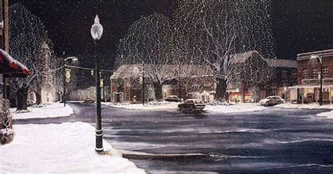 nc history of snowy christmas quot hometown quot a snowy view of downtown mocksville carolina my artwork