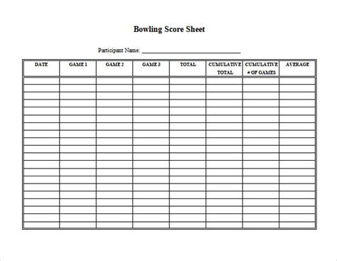 bowling score sheet template sle bowling score sheet 10 documents in pdf psd