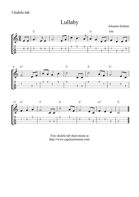 printable sheet music for ukulele lullaby johannes brahms free ukulele tab sheet music