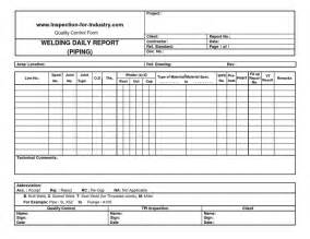 Welding Inspection Report Template by Piping Welding Daily Quality And Inspection Report