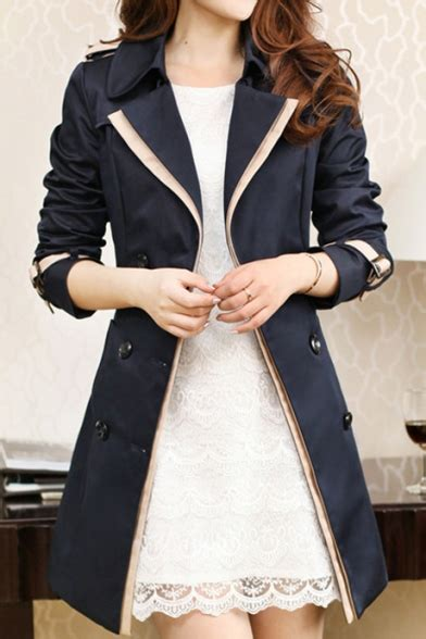 Notched Lapel Trench Coat notched lapel collar sleeve color block