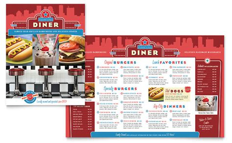 american diner restaurant menu template word publisher