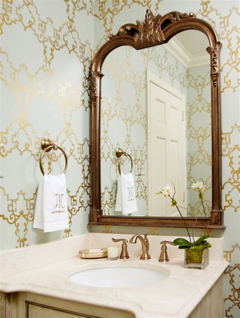 elegant mirrors bathroom blue and gold powder room transitional bathroom kara