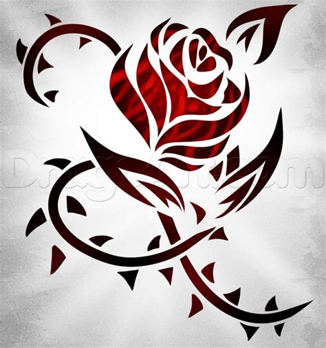 how to draw rose tattoos how to draw a tribal step by step tribal